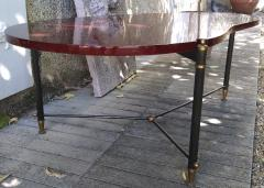 Jules Leleu rarest 50s boomerang forme libre red lacquered coffee table - 1574407