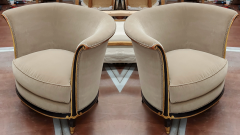 Jules Leleu rarest documented early Art Deco refined pair of chairs - 1636546