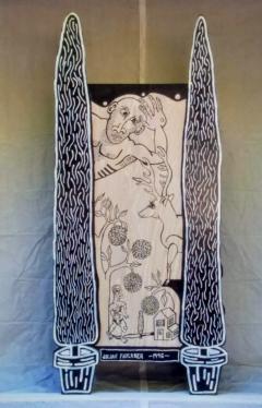 Julian Faulkner Adam and Adam in Eden Painted Cabinet Signed 1996 - 1330921