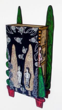 Julian Faulkner Adam and Adam in Eden Painted Cabinet Signed 1996 - 1330927