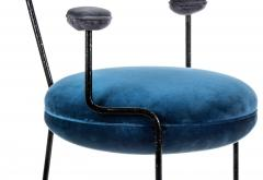 Juliana Lima Vasconcellos Contemporary Chair in Hand Hammered Iron and Uhpolstered by Juliana Vasconcellos - 1563677