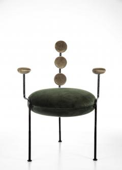 Juliana Lima Vasconcellos Contemporary Chair in Hand Hammered Iron and Uhpolstered by Juliana Vasconcellos - 1563679