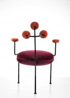Juliana Lima Vasconcellos Contemporary Chair in Hand Hammered Iron and Uhpolstered by Juliana Vasconcellos - 1563680