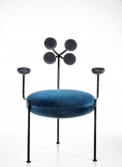 Juliana Lima Vasconcellos Contemporary Chair in Hand Hammered Iron and Uhpolstered by Juliana Vasconcellos - 1563681