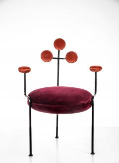 Juliana Lima Vasconcellos Contemporary Chair in Hand Hammered Iron and Uhpolstered by Juliana Vasconcellos - 1563682