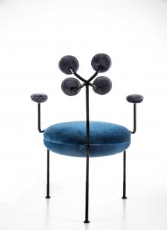 Juliana Lima Vasconcellos Contemporary Chair in Hand Hammered Iron and Uhpolstered by Juliana Vasconcellos - 1563683