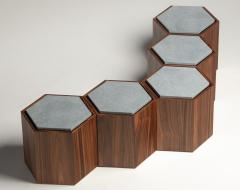 Juliana Lima Vasconcellos Contemporary Stool Side Table in Wood and Stone - 1561494