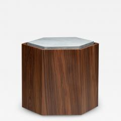 Juliana Lima Vasconcellos Contemporary Stool Side Table in Wood and Stone - 1563353