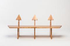 Juliana Lima Vasconcellos Contemporary Trio Bench 2 in Solid African Mahogany Wood Panels Brazilian Design - 1563760