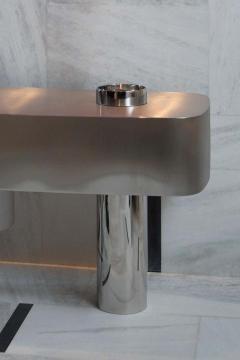 Juliana Lima Vasconcellos e Matheus Barreto Contemporary Futuristic Console Table in Stainless Steel - 1562863