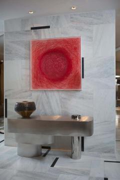 Juliana Lima Vasconcellos e Matheus Barreto Contemporary Futuristic Console Table in Stainless Steel - 1562864