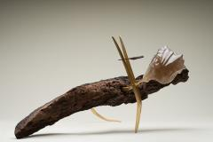 Julio Mart nez Barnetche THE LIZARD LA IGUANA sculpture rutilated Quartz Brass Wood - 1853195