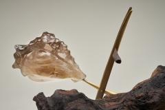 Julio Mart nez Barnetche THE LIZARD LA IGUANA sculpture rutilated Quartz Brass Wood - 1853199
