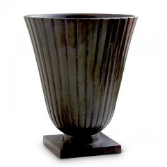 Just Andersen Pair Reeded and Footed Vases in Patinated Bronze by Just Andersen for GAB - 618068