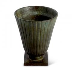 Just Andersen Pair Reeded and Footed Vases in Patinated Bronze by Just Andersen for GAB - 618072