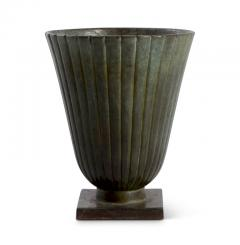 Just Andersen Pair Reeded and Footed Vases in Patinated Bronze by Just Andersen for GAB - 618074