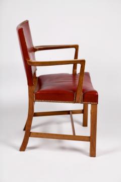 Kaare Klint Kaare Klint Barcelona Armchair Red Leather Cuban Mahogany Denmark 1950s  - 1604917