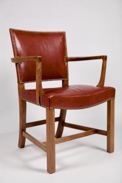 Kaare Klint Kaare Klint Barcelona Armchair Red Leather Cuban Mahogany Denmark 1950s  - 1604923