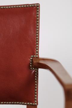 Kaare Klint Kaare Klint Barcelona Armchair Red Leather Cuban Mahogany Denmark 1950s  - 1604925