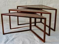 Kai Kristiansen Brazilian Rosewood Nest of Three Tables Attr Kai Kristiansen Denmark 1960 - 937917
