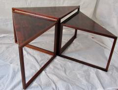 Kai Kristiansen Brazilian Rosewood Nest of Three Tables Attr Kai Kristiansen Denmark 1960 - 937924