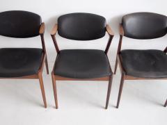 Kai Kristiansen Set of Four Model 42 Black Leather and Hardwood Chairs by Kai Kristiansen - 1263434