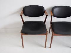 Kai Kristiansen Set of Four Model 42 Black Leather and Hardwood Chairs by Kai Kristiansen - 1263437