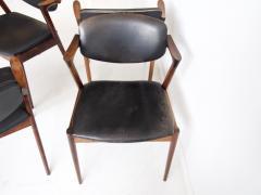 Kai Kristiansen Set of Four Model 42 Black Leather and Hardwood Chairs by Kai Kristiansen - 1263438