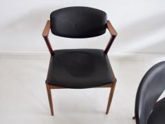 Kai Kristiansen Set of Four Model 42 Black Leather and Hardwood Chairs by Kai Kristiansen - 1263439