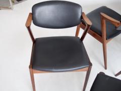 Kai Kristiansen Set of Four Model 42 Black Leather and Hardwood Chairs by Kai Kristiansen - 1263440