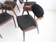 Kai Kristiansen Set of Four Model 42 Black Leather and Hardwood Chairs by Kai Kristiansen - 1263441
