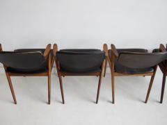 Kai Kristiansen Set of Four Model 42 Black Leather and Hardwood Chairs by Kai Kristiansen - 1263443