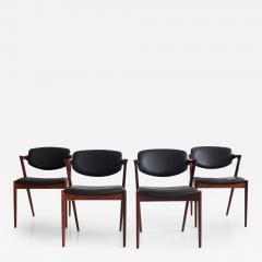 Kai Kristiansen Set of Four Model 42 Black Leather and Hardwood Chairs by Kai Kristiansen - 1263730