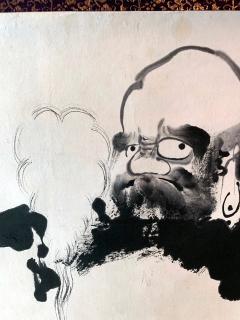 Kangetsu Shitomi Japanese Ink Painting Hanging Scroll of Daruma - 1043711