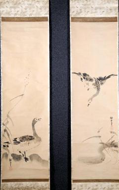 Kano Tanyu Pair of Japanese Ink Hanging Scrolls Kano Tanyu - 1663891