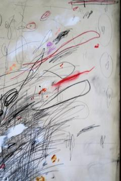 Karina Gentinetta Blackboard Follies Abstract Acrylic Oil Pastels and Pencil Painting 48 x72  - 1654629