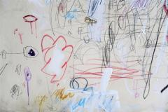 Karina Gentinetta Divine Innocence Abstract Acrylic Oil Pastels and Pencil Painting 48 x72  - 1654640
