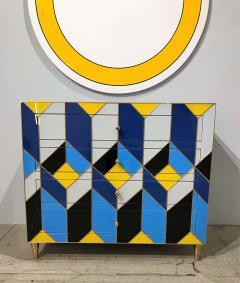 Karina Gentinetta Geometric Blue Ivory Black and Yellow Glass with Brass Inlay Commode Spain - 1260141