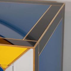 Karina Gentinetta Geometric Blue Ivory Black and Yellow Glass with Brass Inlay Commode Spain - 1260149