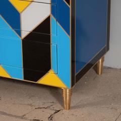 Karina Gentinetta Geometric Blue Ivory Black and Yellow Glass with Brass Inlay Commode Spain - 1260151