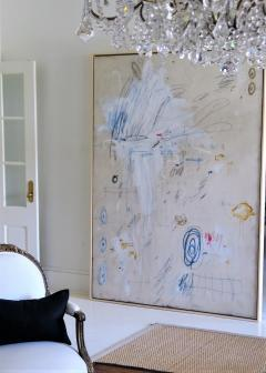 Karina Gentinetta Much Ado Oversized Acrylic Oil Pastels and Pencil Abstract Painting 7ftx5ft - 1694474