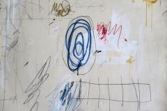 Karina Gentinetta Much Ado Oversized Acrylic Oil Pastels and Pencil Abstract Painting 7ftx5ft - 1694478