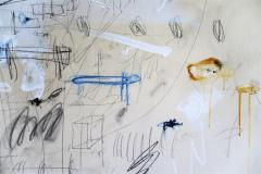 Karina Gentinetta Much Ado Oversized Acrylic Oil Pastels and Pencil Abstract Painting 7ftx5ft - 1694479