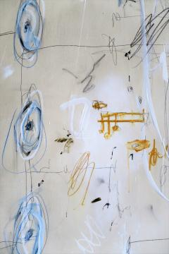 Karina Gentinetta Much Ado Oversized Acrylic Oil Pastels and Pencil Abstract Painting 7ftx5ft - 1694480