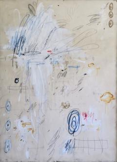 Karina Gentinetta Much Ado Oversized Acrylic Oil Pastels and Pencil Abstract Painting 7ftx5ft - 1695044