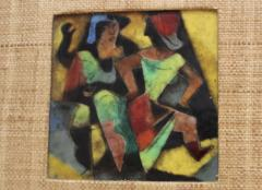 Karl Drerup 1950s Karl Drerup Enamel On Copper Modern Artwork - 768300