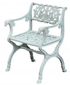 Karl Friedrich Schinkel 19th Century Neoclassical American Iron Furniture Suite of Armchairs and Sett e - 593776