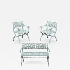 Karl Friedrich Schinkel 19th Century Neoclassical American Iron Furniture Suite of Armchairs and Sett e - 595380
