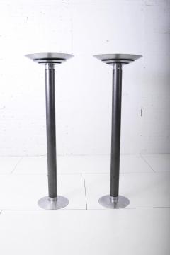 Karl Springer 1970 s Stainless Steel Oversized Torchiere Floor Lamps - 1793477