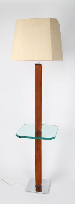 Karl Springer 1970s Karl Springer Chrome Suede and Glass Lamp Table - 696028